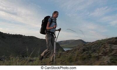 wanderer, frau, gleichfalls, gehen, berg