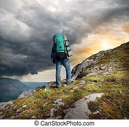 wanderer, in, berge