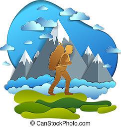 wanderer, mann- gehen, durch, wiesen, mit, hoch, berg erreicht höchsten punkt, in, hintergrund., vektor, abbildung, von, landschaftlich, natur, mit, wandern, kerl, tragen, rucksack, climber., sommer, vacations.