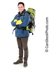 wanderer, mann, tourist fernglas