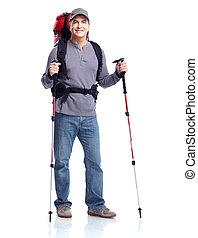 wanderer, mann, tourist., hiking.