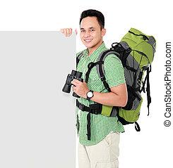wanderer, mann, tourist, mit, leer, brett