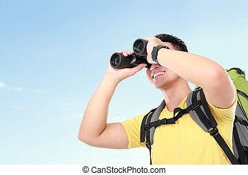 wanderer, mann, tourist, schauen, mit, fernglas