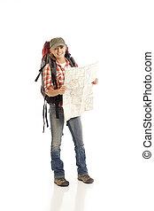 wanderer, mit, landkarte