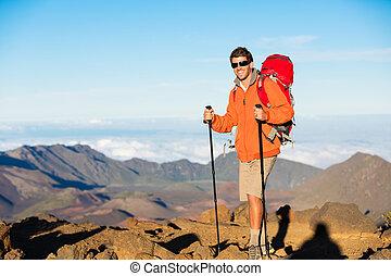 wanderer, mit, rucksack