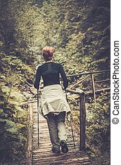 wanderer, mit, wandern, stangen, schauen, gehen, aus, holzbrücke, in, a, wald