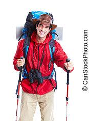 wanderer, tohiker, tourist, mann, ., hiking.
