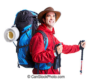 wanderer, tourist, mann, ., hiking.