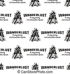 wanderlust, 分接, 矢量, 營火, prints., 露營, 困厄, 圖案, -, quotes., 包裝, seamless, 其他, 設計, 冒險, 背景, 在戶外, 衣服, 股票, style., 好
