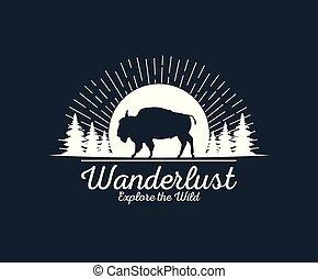 wanderlust wildlife animal wilderness adventure logo over flat black background vector illustration graphic design