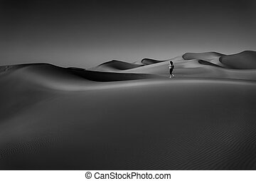 Black and White Photo of the Beautiful Desert, Through Which the Woman Walking So Freely. Enjoying the Magnificent Beauty of the Liwa Desert. Abu Dhabi. UAE.