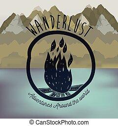 wanderlust, fogo, lago, floresta madeira, fundo, borrão, logotipo, scenary