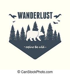 wanderlust, pardo, cena, urso, etiqueta, floresta