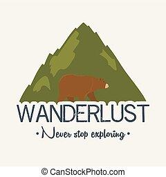 wanderlust, pardo, cena, urso, etiqueta, paisagem