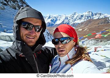 wandern ehepaar, himalaya, porträt, selbst, berge