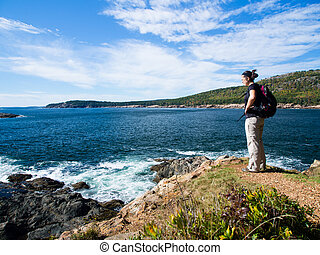 wandern, in, acadia nationalpark