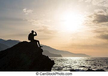 wandern, silhouette, wanderer, mann, anschauen ozean