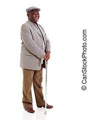 wanderstock, senioren, besitz, afrikanischer mann