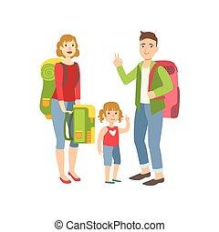 wanderung, rucksäcke, vorbereiten, familie