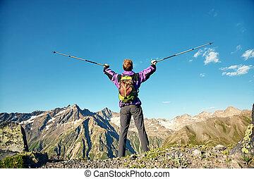 wanderung, rucksack, spur, berge., bergsteiger, mann