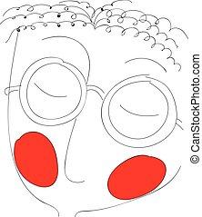 wangen, jongen, illustration., kleur, vector, rood