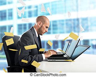 wanhoop, en, stress, voor, spam, e-mail
