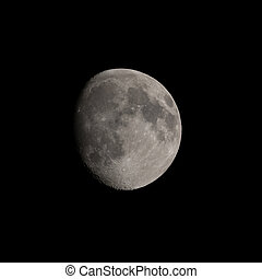 Waning gibbous Moon in March 2020 showing craters, Tycho, Aristarchus and Copernicus.