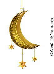 waning moon with hanging stars