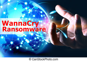 wannacry, ransomware, anfalde, internet, system., cyber, garanti, netværk, begreb