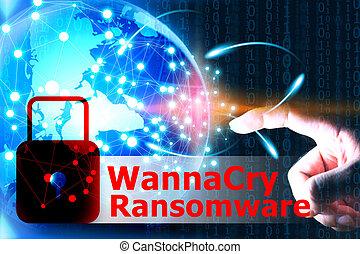 wannacry, ransomware, attacco, internet, system., cyber, sicurezza, rete, concetto