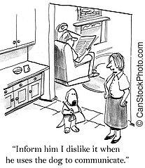 wanneer, informatietechnologie, dog, gebruiken, afkeer, hij