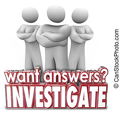Want Answers Investigate 3d Words Serious People Arms...