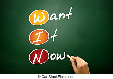 Want It Now (WIN), business concept acronym on blackboard