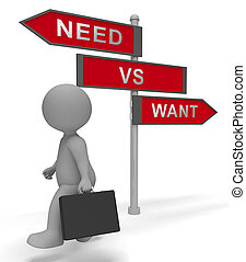 Want Vs Need Priorities Signpost Depicting Importance Of Necessities Over Desires. The Concept Of Order Of Priority - 3d Illustration