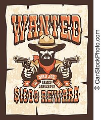 Wanted Bearded cowboy with guns vintage poster