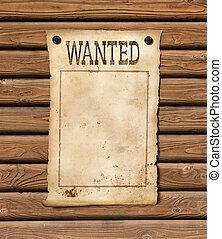 Wanted blank paper sheet. Wild west poster.