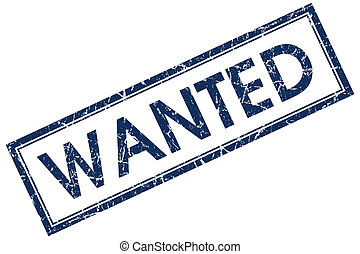 wanted blue square stamp