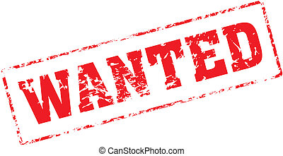 wanted - Grungy ink stamp, vector format very easy to edit