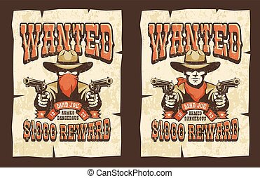 Wanted cowboy poster with bandit