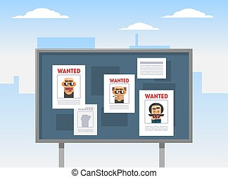 Wanted Criminals Banner Template, Placards with Arrested Men Photos on a Billboard Vector Illustration