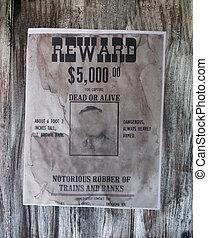 wanted danger man, robber of banks, bandit, vintage paper