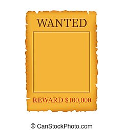Wanted, dead or alive. Wild west, grunge, old poster on wooden planks. Vector stock illustration