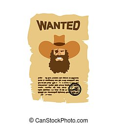 Wanted flyer. Wild West ad. Portrait of angry cowboy