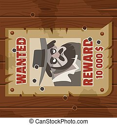 Wanted for reward poster. Portrait of cowboy robber. Western poster on old parchment on an old wooden fence. Vector cartoon flat illustration