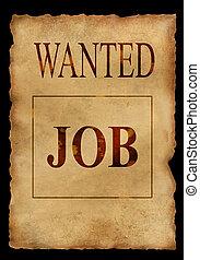 Wanted job. Grunge background