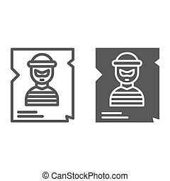 Wanted line and glyph icon, police and reward, poster sign, vector graphics, a linear pattern on a white background.