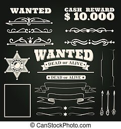 Wanted ornaments. Country vintage western saloon tattoos pattern and cowboy frame scroll elements on dark background vector illustration