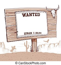 Wanted paper on wood board for text.Western background