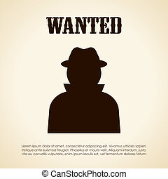 Wanted person, vector placard