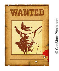 Wanted poster background with portrait of bandit for design...